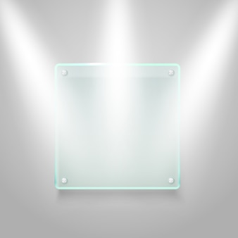 Lastra di vetro illuminata sul muro. mockup di vettore