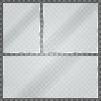 Lastra di vetro su sfondo trasparente. struttura in acrilico e vetro con riflessi e luce