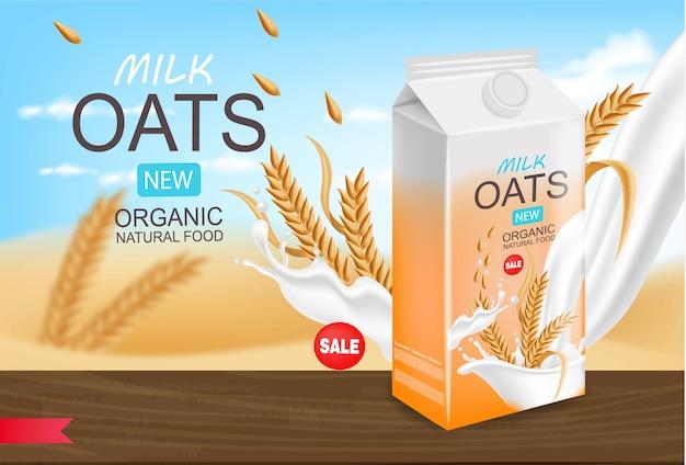 Latte di avena realistico, latte biologico, confezione, bellissimo sfondo, latte splash, nuovo prodotto