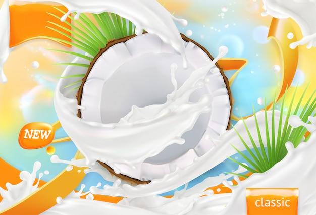 Latte di cocco. spruzzata di crema bianca. 3d realistico, design del pacchetto