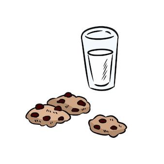 Latte e biscotti scarabocchi colorati