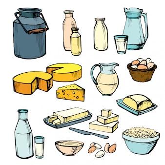 Latte e prodotti agricoli. insieme di elementi vettoriali disegnati a mano: formaggio, latte, uova, burro, bottiglia, crema