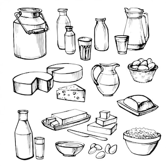 Latte e prodotti agricoli. insieme di elementi vettoriali disegnati a mano.