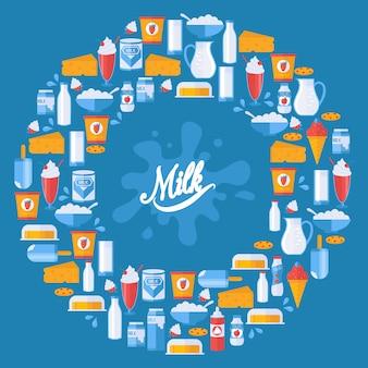 Latte e prodotti lattier-caseario freschi nella composizione rotonda nella struttura, illustrazione.
