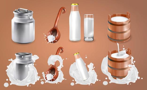Latte e spruzzi di latte.