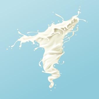 Latte vortice o spruzzi di vernice bianca o idromassaggio con goccioline e schizzi