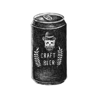 Lattina di birra artigianale disegnata a mano