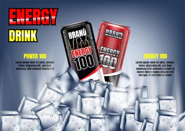 Lattine di bevande energetiche con cubetti di ghiaccio e modello