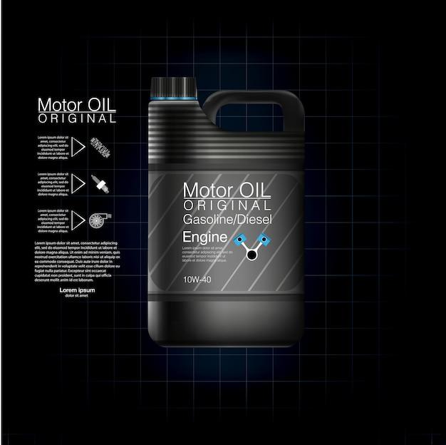 Lattine di plastica per olio motore e fluidi tecnici. motore della bottiglia di olio della scatola metallica, fondo dell'olio, illustrazione. olio motore bottiglia nera.