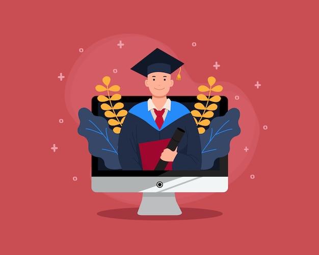 Laurea virtuale in computer desktop. laurea online per la classe 2020 a causa della pandemia del virus corona. uomo in abito accademico. design piatto.