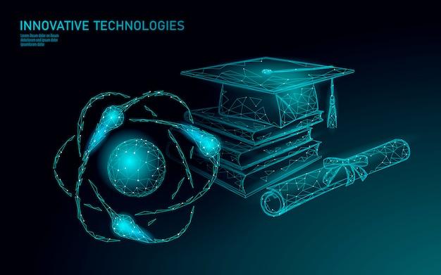 Laureato a distanza e-learning tramite smartphone. concetto di programma certificato. il poli basso 3d rende il modello dell'insegna di progettazione moderna del cappuccio di graduazione. illustrazione del corso di formazione internet