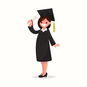 Laureato felice della ragazza dell'università in abito nero su un'illustrazione bianca del fondo