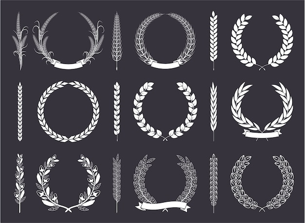 Laurel wreaths and branches vector collection