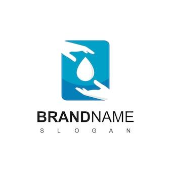 Lavaggio a mano logo design template, con mano e goccia simbolo dell'acqua.
