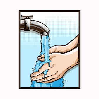Lavaggio a mano logo illustrazione
