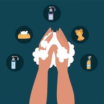 Lavaggio delle mani e icona scenografia, igiene lavaggio salute pulito batteri sani protezione del bagno e tema liquido