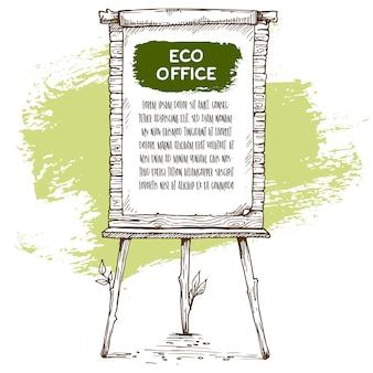 Lavagna a fogli mobili in legno disegnata a mano con alcune foglie e inchiostro. illustrazione di schizzo vettoriale