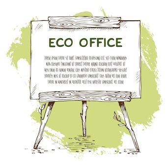Lavagna a fogli mobili in legno disegnata a mano con alcune foglie. illustrazione di schizzo vettoriale