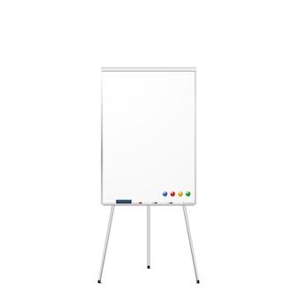 Lavagna asciutta di cancellazione del treppiede magnetico in bianco isolata su bianco. lavagna a treppiede realistica con magneti, gomma e pennarelli. .