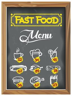 Lavagna d'epoca con menu fast food
