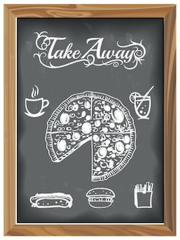 Lavagna dell'annata con le icone di pizza e cibo racconto assente