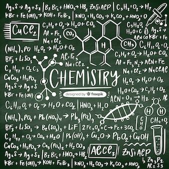 Lavagna di chimica disegnata a mano