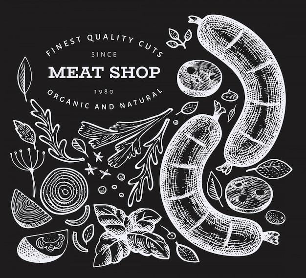 Lavagna disegnata a mano salsicce, spezie ed erbe copertura
