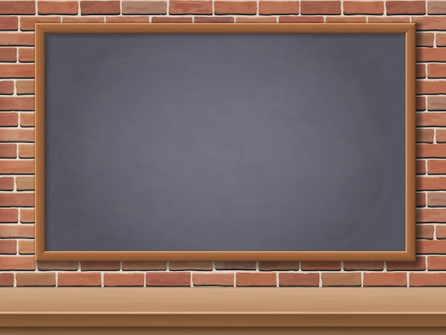 Lavagna e scrittorio della scuola sul fondo del muro di mattoni. sfondo modello per cartoline torna a scuola.