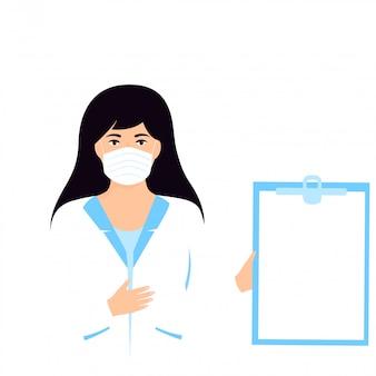 Lavagna per appunti medica della tenuta di medico della donna con copyspace. infermiera in piedi in camice bianco.