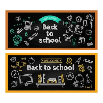 Lavagna torna a scuola banner pack