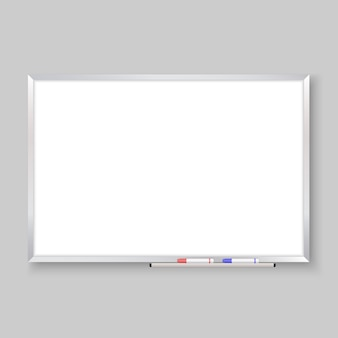 Lavagna vuota realistica 3d con gli indicatori di colore, fondo del bordo bianco