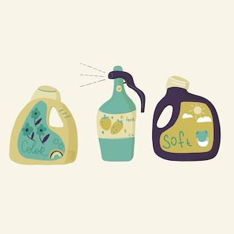 Lavanderia e pulizia bottiglia e scatola, sapone, ammorbidente e spray per pulire