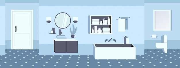 Lavandino del bagno moderno specchio da tavolo specchio wc e vasca da bagno nessuna gente vuota stanza da bagno banner orizzontale interno