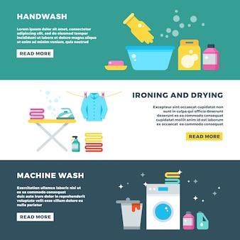 Lavare e asciugare i vestiti, servizio di lavanderia banner pubblicitario