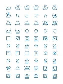 Lavare e strizzare, asciugare e stirare le icone per le etichette dei vestiti.