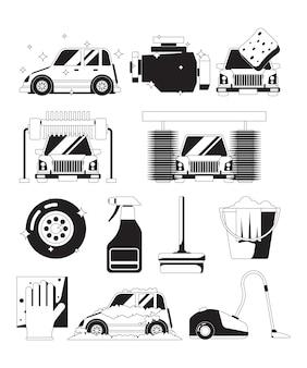 Lavare il servizio auto asciutto. siluette nere della spugna automatica della schiuma delle bolle pulite dell'acqua di lavaggio della spugna