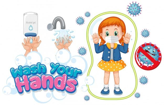 Lavare le mani poster design con ragazza che indossa la maschera