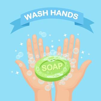 Lavarsi le mani con schiuma di sapone, scrub, bolle di gel. igiene personale, routine quotidiana