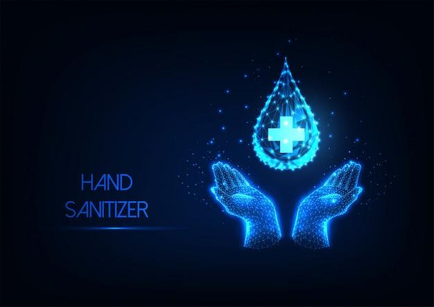 Lavarsi le mani futuristico con banner web liquido antisettico