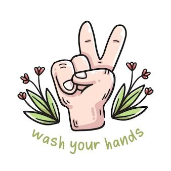 Lavarsi le mani illustrazione segno di pace