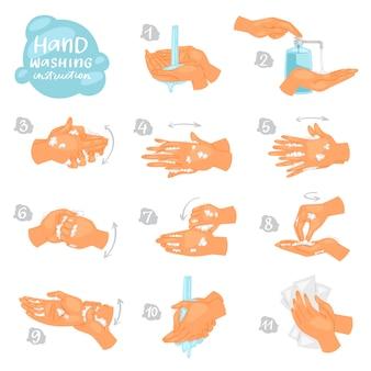 Lavarsi le mani le istruzioni vettoriali di lavaggio o pulizia mani con sapone e schiuma in acqua illustrazione antibatterico set di skincare sano con le bollicine isolato