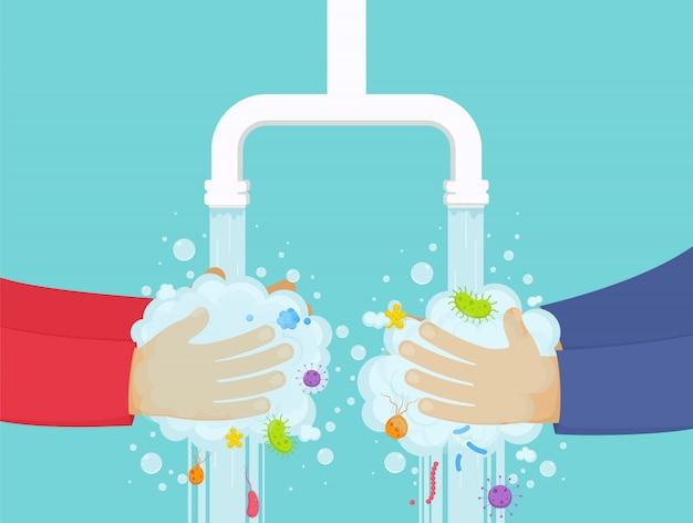 Lavarsi le mani sotto il rubinetto con sapone, concetto di igiene. ragazzo e ragazza lavano via i germi dalle mani.