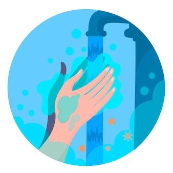 Lavati le mani illustrato concetto