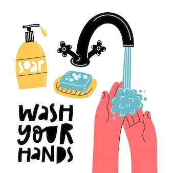 Lavati le mani. raccomandazioni dalla protezione dal coronavirus. promozione dell'igiene covid-19.