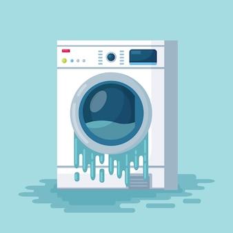 Lavatrice rotta d sullo sfondo. rondella danneggiata con acqua corrente sul pavimento. le apparecchiature elettroniche per lavanderia per le pulizie devono essere riparate.