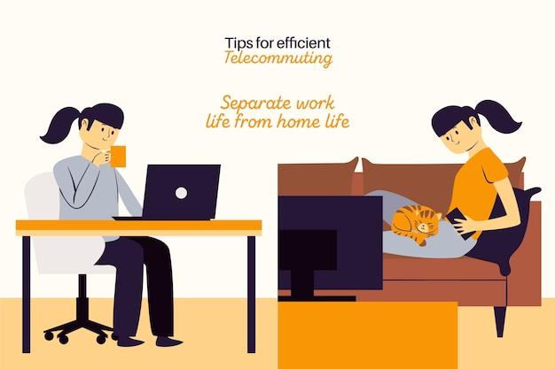 Lavora da casa, lavoro separato e tempo libero