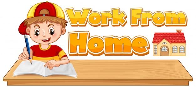 Lavora da casa ragazzo con posizione di scrittura e segno wfh su sfondo bianco