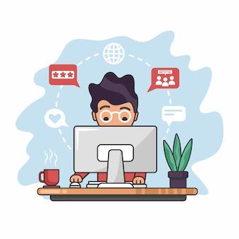 Lavorando da. uomo seduto di fronte al monitor