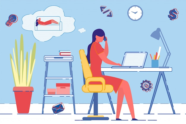 Lavorare a casa con il laptop, pensare al riposo.