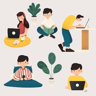 Lavorare a casa, illustrazione di concetto. persone indipendenti che lavorano su laptop e computer da casa. illustrazione di stile piano di carattere che lavora da casa.